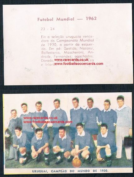 1962 Vecchi 23 24 Uruguay WC30 sticker from Brazil different to Italian Lampo!